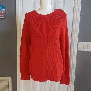 Karen Scott Knit Sweater 100% Cotton Red stretchy